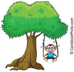 Ein Affe spielt auf dem Baum