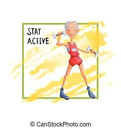 Ein alter Mann, der mit Dumpfklingeln trainiert. Aktive Lifestyle- und Sportaktivitäten im Alter. Vector Illustration.