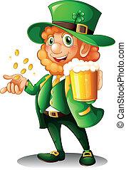 Ein alter Mann mit einem Glas Bier und Münzen