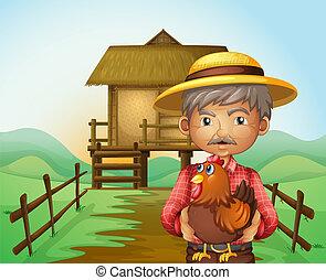 Ein alter Mann mit einem Hahn.