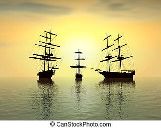 Ein altes Schiff bei Sonnenuntergang über dem Ozean - digitale Kunstwerke