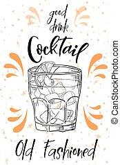 Ein altmodischer Cocktail. Hand gezeichneter Drink auf weißem Hintergrund. Vector Illustration