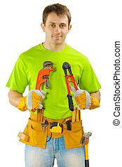 Ein Arbeiter mit Werkzeug
