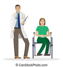 Ein Arzt in einem weißen Bademantel mit einem Ordner in den Händen neben einer behinderten Frau im Rollstuhl. Medizinische Vektorgrafik.