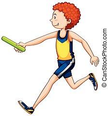 Ein Athlet, der Staffel läuft.