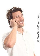 Ein attraktiver junger Mann mit einem Telefon