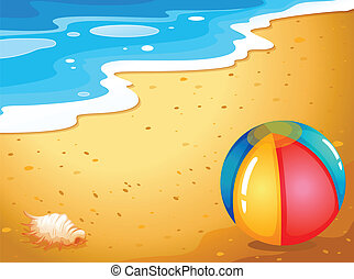 Ein Ball am Strand.