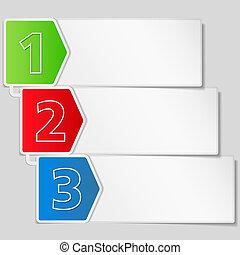 Ein Banner mit drei Schritten