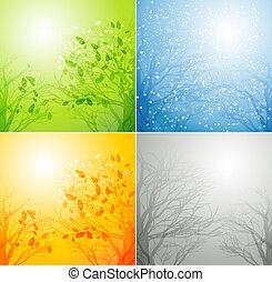 Ein Baum in vier verschiedenen Jahreszeiten.