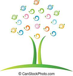 Ein Baum mit verdrahtetem Blatt-Logo Vektor