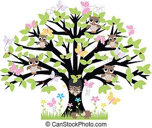 Ein Baum mit vielen Tieren