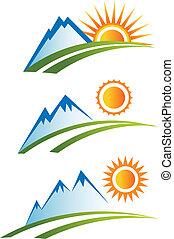 Ein Berg mit Sonne