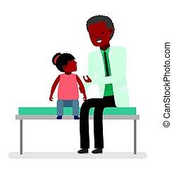 Ein Besuch beim Arzt. Für die Gesundheit des Kindes. Impfung