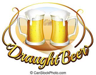 Ein Bier-Label mit zwei Becher Bier.