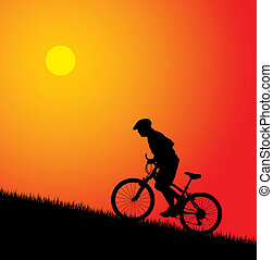 Ein Biker fährt auf den Hügel