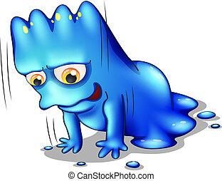 Ein blaues Monster, das alleine trainiert.