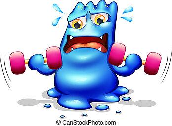 Ein blaues Monster, das trainiert