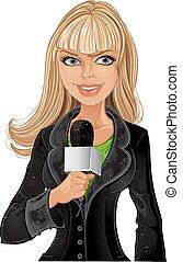 Ein blondes Reporterin