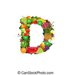 Ein Brief von saftigen Früchten D.