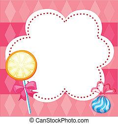 Ein Briefpapier mit Bonbons