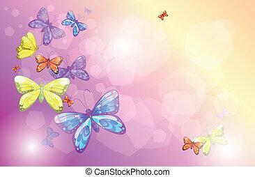 Ein Briefpapier mit bunten Schmetterlingen.