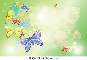 Ein Briefpapier mit bunten Schmetterlingen