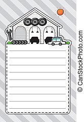 Ein Briefpapier mit einer Garage