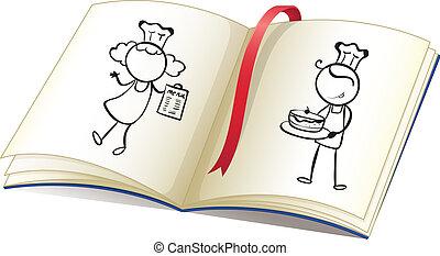 Ein Buch mit einem Bild von Köchen
