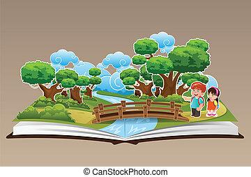 Ein Buch mit einem Waldthema.