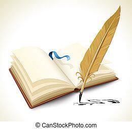 Ein Buch mit Tintenfederwerkzeug