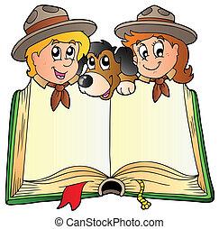 Ein Buch mit zwei Spähern und Hund