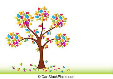 Ein bunter Frühlingsbaum