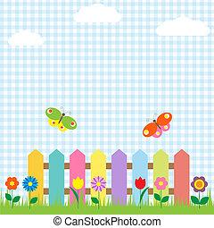 Ein bunter Zaun mit Blumen und Schmetterlingen