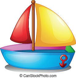 Ein buntes Boot.