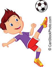 Ein Cartoon, der Football spielt