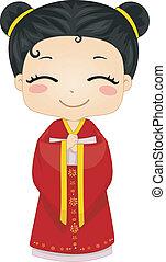Ein chinesisches Mädchen mit nationalem Kostüm-Cheongsam