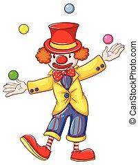 Ein Clown jongliert.