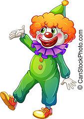 Ein Clown mit einem grünen Kostüm.