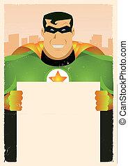 Ein Comic-Superhelden-Zeichen