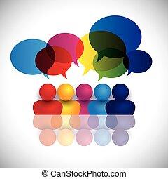 Ein Concept Vektor von Schulkindern, die reden oder Büroangestellte treffen