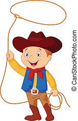 Ein Cowboy-Junge dreht ein Lasso.