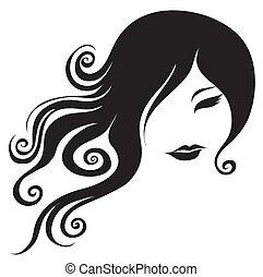Ein dekoratives Porträt von Frau mit langen Haaren