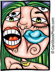 Ein Detail der weiblichen Lippen.