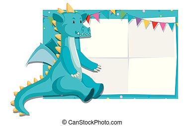 Ein Dinosaurier an der Papiergrenze.