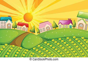 Ein Dorf mit Farm