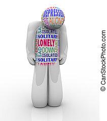 Ein einsamer Mensch, traurig deprimiert vor Einsamkeit