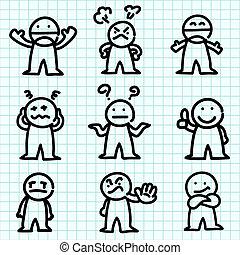 Ein emotionaler Cartoon auf Graph Papier.