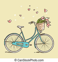 Ein Fahrrad mit Blumen