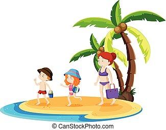 Ein Familienausflug am Strand.