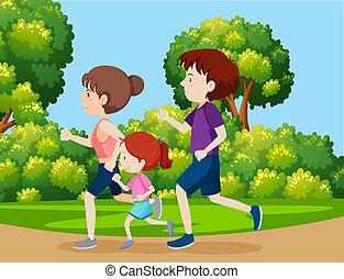 Ein Familienjoggen im Park.